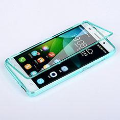Etui Transparente Integrale Silicone Souple Avant et Arriere pour Huawei G Play Mini Bleu Ciel