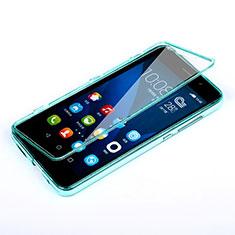 Etui Transparente Integrale Silicone Souple Avant et Arriere pour Huawei Honor 4X Bleu Ciel