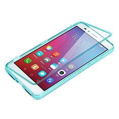 Etui Transparente Integrale Silicone Souple Avant et Arriere pour Huawei Honor 5X Bleu Ciel