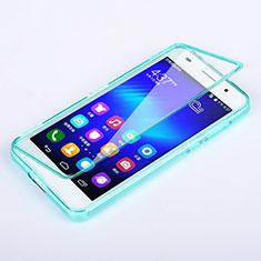 Etui Transparente Integrale Silicone Souple Avant et Arriere pour Huawei Honor 6 Bleu Ciel