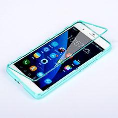Etui Transparente Integrale Silicone Souple Avant et Arriere pour Huawei Honor 6 Plus Bleu Ciel