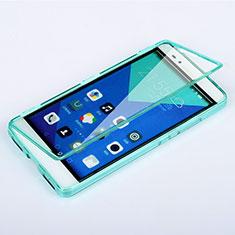 Etui Transparente Integrale Silicone Souple Avant et Arriere pour Huawei Honor 7 Bleu Ciel