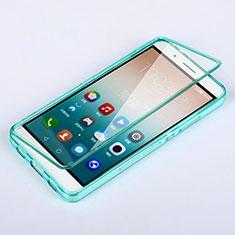 Etui Transparente Integrale Silicone Souple Avant et Arriere pour Huawei Honor 7i shot X Bleu Ciel