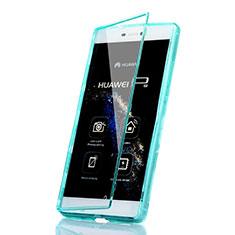 Etui Transparente Integrale Silicone Souple Avant et Arriere pour Huawei P8 Bleu Ciel