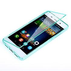 Etui Transparente Integrale Silicone Souple Avant et Arriere pour Huawei P8 Lite Bleu Ciel