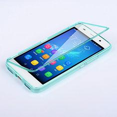 Etui Transparente Integrale Silicone Souple Avant et Arriere pour Huawei Y6 Bleu