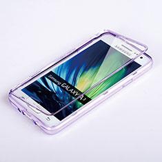 Etui Transparente Integrale Silicone Souple Avant et Arriere pour Samsung Galaxy A3 SM-300F Violet