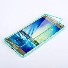 Etui Transparente Integrale Silicone Souple Avant et Arriere pour Samsung Galaxy A7 Duos SM-A700F A700FD Bleu Ciel