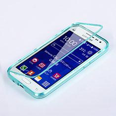 Etui Transparente Integrale Silicone Souple Avant et Arriere pour Samsung Galaxy Core Prime G360F G360GY Bleu Ciel