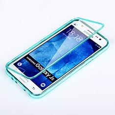 Etui Transparente Integrale Silicone Souple Avant et Arriere pour Samsung Galaxy J5 SM-J500F Bleu Ciel