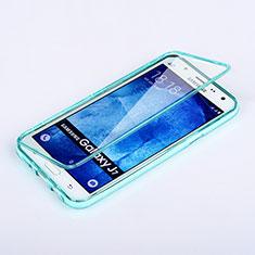 Etui Transparente Integrale Silicone Souple Avant et Arriere pour Samsung Galaxy J7 SM-J700F J700H Bleu Ciel