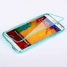 Etui Transparente Integrale Silicone Souple Avant et Arriere pour Samsung Galaxy Note 3 N9000 Bleu Ciel