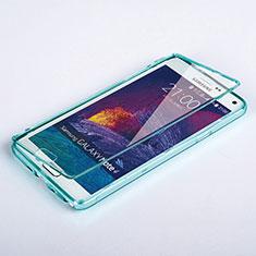 Etui Transparente Integrale Silicone Souple Avant et Arriere pour Samsung Galaxy Note 4 Duos N9100 Dual SIM Bleu Ciel