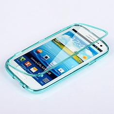 Etui Transparente Integrale Silicone Souple Avant et Arriere pour Samsung Galaxy S3 i9300 Bleu Ciel