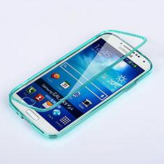 Etui Transparente Integrale Silicone Souple Avant et Arriere pour Samsung Galaxy S4 i9500 i9505 Bleu Ciel