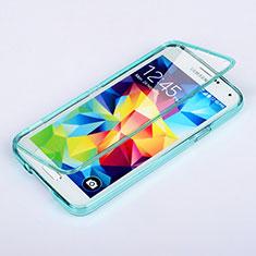 Etui Transparente Integrale Silicone Souple Avant et Arriere pour Samsung Galaxy S5 Duos Plus Bleu Ciel