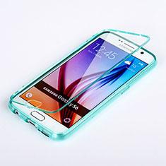 Etui Transparente Integrale Silicone Souple Avant et Arriere pour Samsung Galaxy S6 Duos SM-G920F G9200 Bleu Ciel
