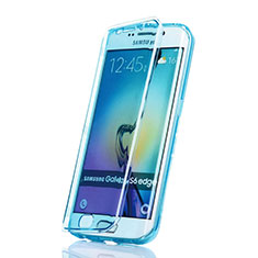 Etui Transparente Integrale Silicone Souple Avant et Arriere pour Samsung Galaxy S6 Edge SM-G925 Bleu
