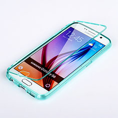 Etui Transparente Integrale Silicone Souple Avant et Arriere pour Samsung Galaxy S6 SM-G920 Bleu Ciel