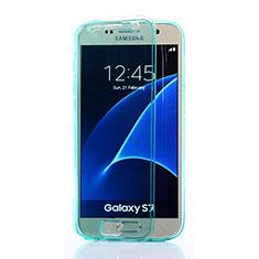 Etui Transparente Integrale Silicone Souple Avant et Arriere pour Samsung Galaxy S7 G930F G930FD Bleu Ciel