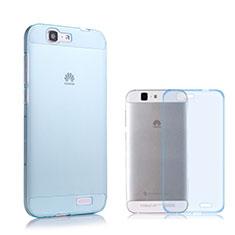 Etui Ultra Fine Silicone Souple Transparente pour Huawei Ascend G7 Bleu