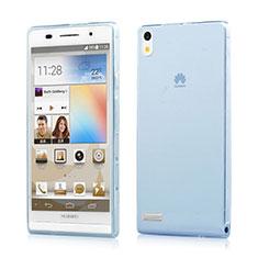 Etui Ultra Fine Silicone Souple Transparente pour Huawei Ascend P6 Bleu