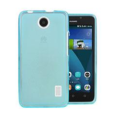 Etui Ultra Fine Silicone Souple Transparente pour Huawei Ascend Y635 Bleu