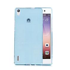Etui Ultra Fine Silicone Souple Transparente pour Huawei P7 Dual SIM Bleu