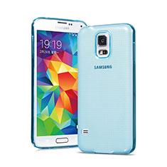Etui Ultra Fine Silicone Souple Transparente pour Samsung Galaxy S5 G900F G903F Bleu