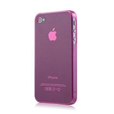 Etui Ultra Fine TPU Souple Transparente Mat pour Apple iPhone 4 Rose
