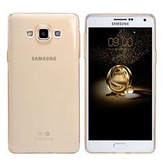Etui Ultra Fine TPU Souple Transparente T03 pour Samsung Galaxy A7 Duos SM-A700F A700FD Or