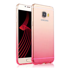 Etui Ultra Fine Transparente Souple Degrade T04 pour Samsung Galaxy C5 Pro C5010 Rose