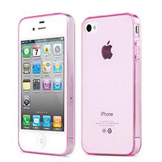 Etui Ultra Slim TPU Souple Transparente pour Apple iPhone 4 Rose
