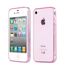 Etui Ultra Slim TPU Souple Transparente pour Apple iPhone 4S Rose