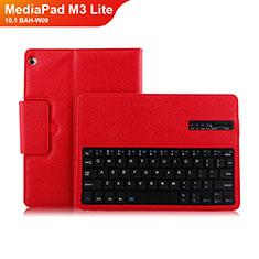 Housse Clapet Portefeuille Livre Cuir avec Clavier L01 pour Huawei MediaPad M3 Lite 10.1 BAH-W09 Rouge