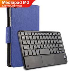 Housse Clapet Portefeuille Livre Cuir avec Clavier pour Huawei Mediapad M3 8.4 BTV-DL09 BTV-W09 Bleu