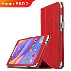 Housse Clapet Portefeuille Livre Cuir L01 pour Huawei Honor Pad 2 Rouge