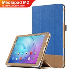 Housse Clapet Portefeuille Livre Cuir L01 pour Huawei MediaPad M2 10.1 FDR-A03L FDR-A01W Bleu
