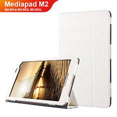 Housse Clapet Portefeuille Livre Cuir L01 pour Huawei Mediapad M2 8 M2-801w M2-803L M2-802L Blanc