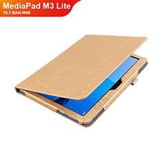 Housse Clapet Portefeuille Livre Cuir L01 pour Huawei MediaPad M3 Lite 10.1 BAH-W09 Or