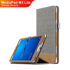 Housse Clapet Portefeuille Livre Cuir L01 pour Huawei MediaPad M3 Lite 8.0 CPN-W09 CPN-AL00 Gris