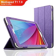 Housse Clapet Portefeuille Livre Cuir L01 pour Huawei Mediapad T1 7.0 T1-701 T1-701U Violet