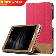Housse Clapet Portefeuille Livre Cuir L01 pour Huawei MediaPad T2 Pro 7.0 PLE-703L Rouge