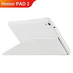 Housse Clapet Portefeuille Livre Cuir L02 pour Huawei Honor Pad 2 Blanc