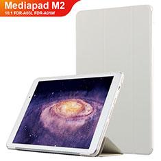 Housse Clapet Portefeuille Livre Cuir L02 pour Huawei MediaPad M2 10.1 FDR-A03L FDR-A01W Blanc