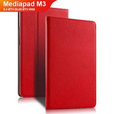 Housse Clapet Portefeuille Livre Cuir L02 pour Huawei Mediapad M3 8.4 BTV-DL09 BTV-W09 Rouge