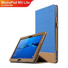 Housse Clapet Portefeuille Livre Cuir L02 pour Huawei MediaPad M3 Lite 10.1 BAH-W09 Bleu