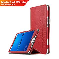 Housse Clapet Portefeuille Livre Cuir L02 pour Huawei MediaPad M3 Lite 8.0 CPN-W09 CPN-AL00 Rouge