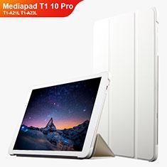 Housse Clapet Portefeuille Livre Cuir L02 pour Huawei Mediapad T1 10 Pro T1-A21L T1-A23L Blanc