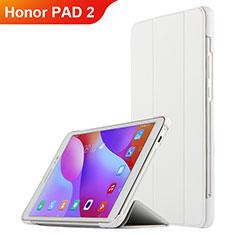 Housse Clapet Portefeuille Livre Cuir L03 pour Huawei Honor Pad 2 Blanc